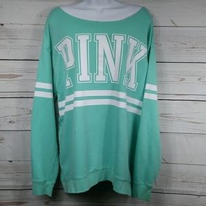 PINK Oversized Slouchy Sweatshirt in Teal Sz Large